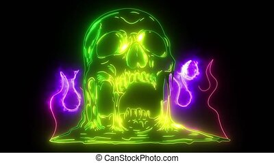 Skull on Fire with Flames video