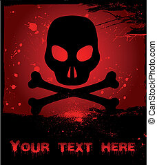Skull on grunge background. Vector