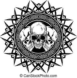 skull on pattern - Abstract vector illustration black and ...