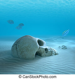 Skull on sandy ocean bottom with small fish cleaning some...