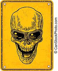 Skull on sign danger. Black vintage engraving vector...