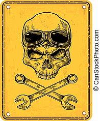 Skull on sign danger. Black vintage vector illustration. -...