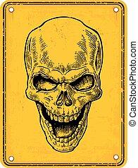 Skull on sign danger. Black vintage vector illustration. For...