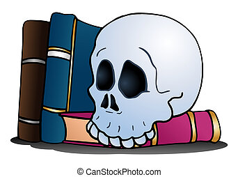 skull on top of blank book on isolated white background