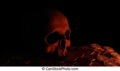Skull On Treasure Coins In Candle Light - Skull on top of...