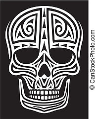 skull ornament (skull in tattoo style, tattoo skull, tribal skull)