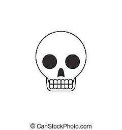 skull, outline icon with teeth