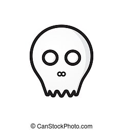 skull outline silhouette vector illustration isolated on white background. Horror design element. Suitable for t-shirt, holiday party invitation card or other design project.