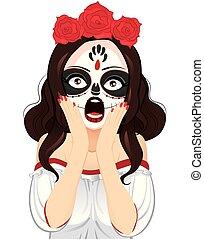Skull Painting Woman Shouting