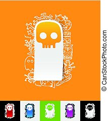 skull paper sticker with hand drawn elements