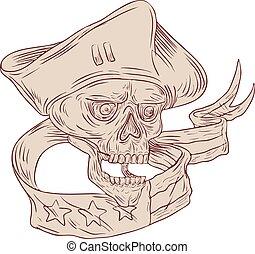 Skull Patriot Ribbon Flag Drawing