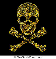 Skull pattern - Floral gold pattern of form skull with...