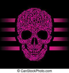Skull pattern - Floral pattern of form pink skull. Pink ...