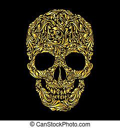 Skull pattern - Floral gold pattern of form skull on the...