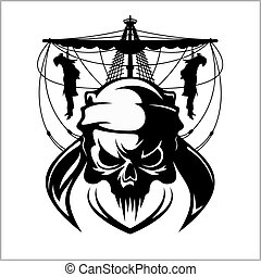 Skull pirate illustration - vector emblem isolated on white