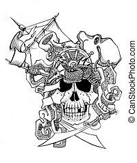 skull, pirate, piracy schooner, ship, travel