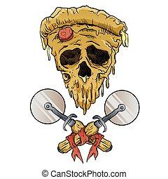 skull pizza slice. vector illustration.
