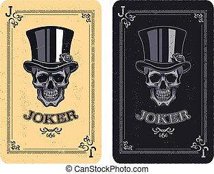 skull poker card vector - Joker playing card. skull poker...