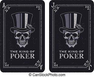 skull poker card vector illustration