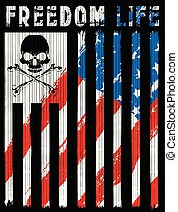 Skull poster with American flag