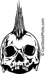 skull punk - Abstract vector illustration grunge skull punk...