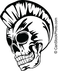 skull punk - Vector image skull of the punk with mohawk on...