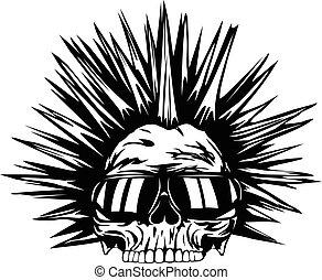 skull punk sunglasses - Abstract vector illustration grunge...