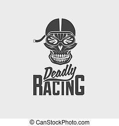 skull racer with flame glasses vintage vector design template