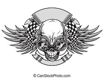 skull racing - vector illustration skull with wings and ...