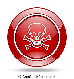 skull red web glossy round icon
