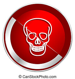 Skull red web icon. Metal shine silver chrome border round button isolated on white background. Circle modern design abstract sign for smartphone applications.