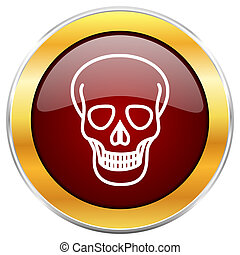 Skull red web icon with golden border isolated on white background. Round glossy button.