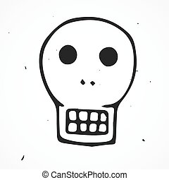 Skull retro cartoon doodle, hand drawn - Vector doodle skull...