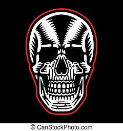 skull., retro, koel