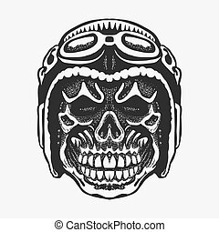 Skull rider in helmet with goggles. vector