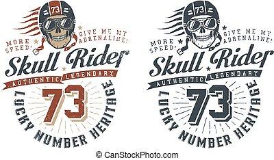 Skull rider in helmet
