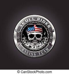 skull rider - vector object motorcycle logo