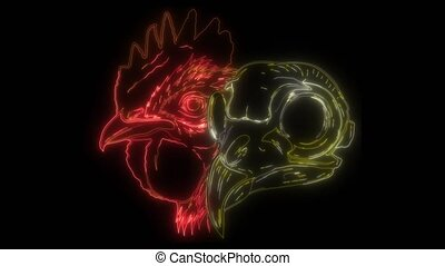 skull Rooster head, realistic video graphics art