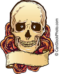 Skull roses and banner illustration