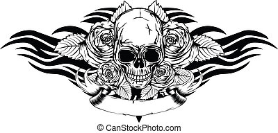 skull roses tribal - Vector illustration human death skull...