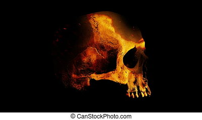 Skull Rotates In Flames Abstract