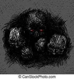 Skull rough hatch texture. vector illustration. Design for t-shirt print