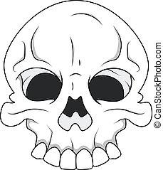 Drawing Art of Cartoon Scary Skull Face Vector Illustration