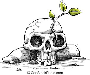 A fresh, cartoon sapling with green leaves grows from the eye of a weathered skull.
