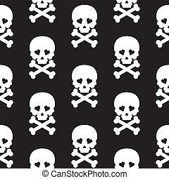 Skull Seamless pattern Vector background white black