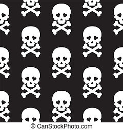 Skull Seamless pattern Vector background white black