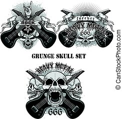 skull set grunge skull coat of arms