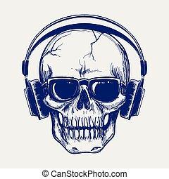Skull sketch with headphones
