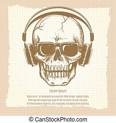 Skull sketch with headphones vintage style
