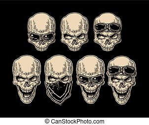 Skull smiling with bandana and glasses for motorcycle. -...